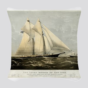 The yacht Meteor - 1869 Woven Throw Pillow