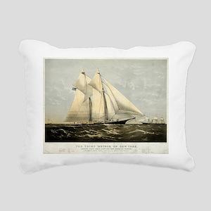 The yacht Meteor - 1869 Rectangular Canvas Pillow