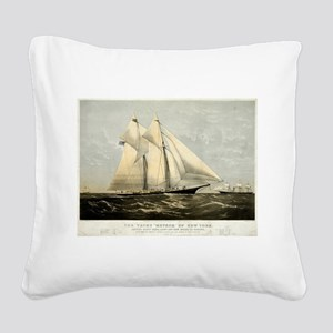 The yacht Meteor - 1869 Square Canvas Pillow