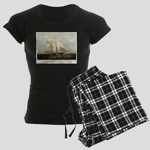 The yacht Meteor - 1869 Women's Dark Pajamas