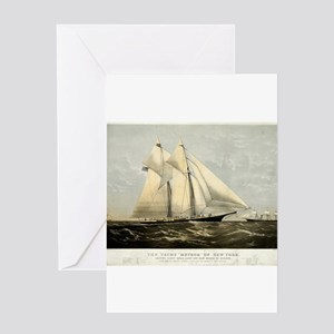 The yacht Meteor - 1869 Greeting Card
