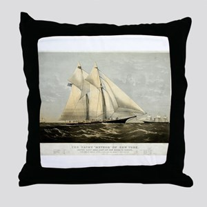 The yacht Meteor - 1869 Throw Pillow