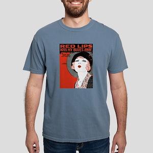 Vintage Red Lips Kiss Blues Mens Comfort Colors Sh