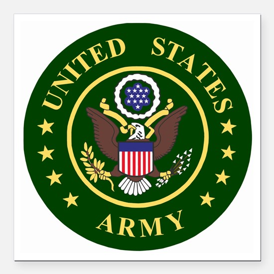 "ArmyLogoToMatchStripes2. Square Car Magnet 3"" x 3"""