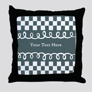 Custom Text Decorative Checkered Throw Pillow