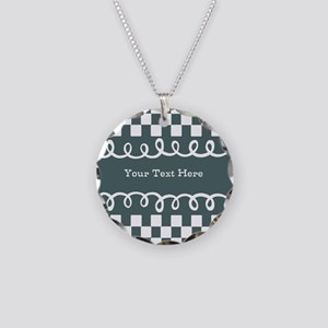 Custom Text Decorative Checkered Necklace Circle C