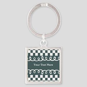 Custom Text Decorative Checkered Square Keychain