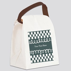 Custom Text Decorative Checkered Canvas Lunch Bag