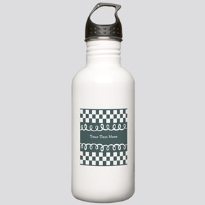 Custom Text Decorative Checkered Stainless Water B