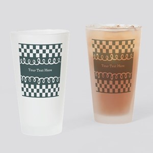 Custom Text Decorative Checkered Drinking Glass