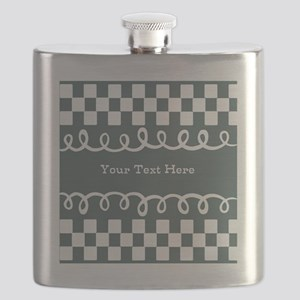 Custom Text Decorative Checkered Flask