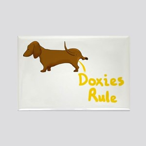 Dachshund Peeing Doxies Rule Rectangle Magnet