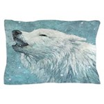 Howling White Wolf Pillow Case