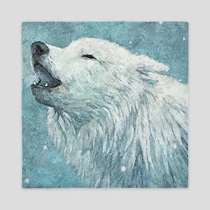Howling White Wolf Queen Duvet