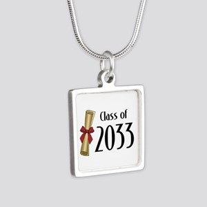 Class of 2033 Diploma Silver Square Necklace