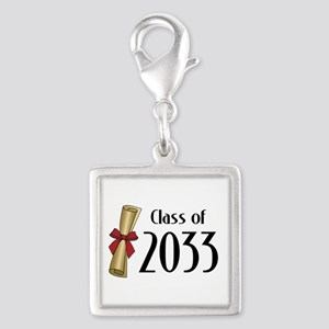 Class of 2033 Diploma Silver Square Charm