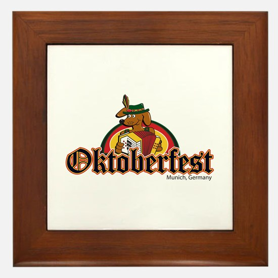 Oktoberfest Dachshund and Accordian Framed Tile