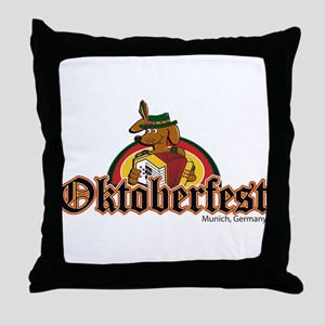 Oktoberfest Dachshund and Accordian Throw Pillow