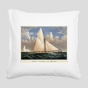 Yacht Puritan of Boston - 1885 Square Canvas Pillo