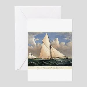 Yacht Puritan of Boston - 1885 Greeting Card