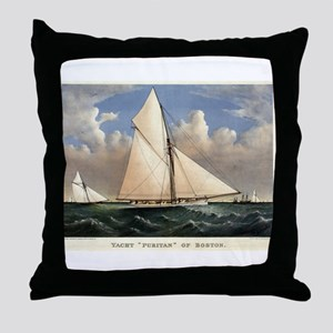 Yacht Puritan of Boston - 1885 Throw Pillow