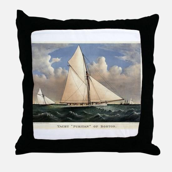 Yacht Puritan of Boston - 1885 Throw Pillow