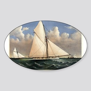 Yacht Puritan of Boston - 1885 Sticker (Oval)