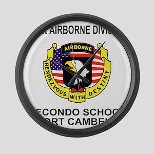 Army101stAirborneRecondoShirtBack Large Wall Clock