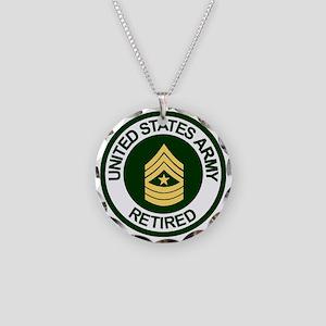 ArmyRetiredSergeantMajor Necklace Circle Charm