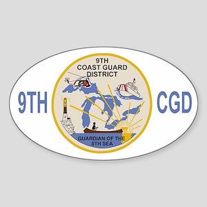 USCGPatchCGD9BlueMesh Sticker (Oval)