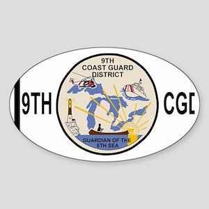 USCGPatchCGD9BlackMesh Sticker (Oval)