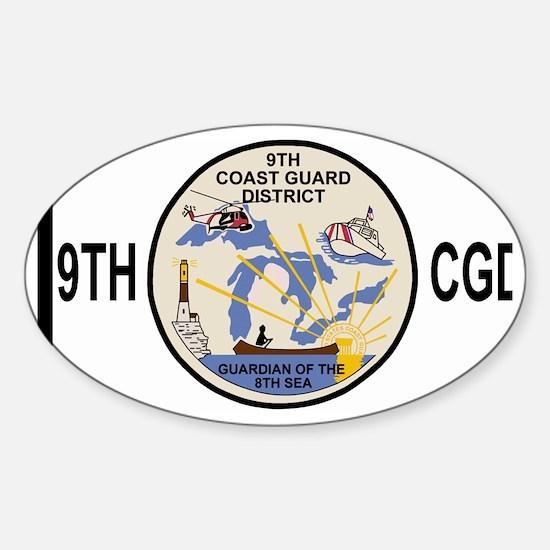 USCGPatchCGD9BlackMesh.gif Sticker (Oval)