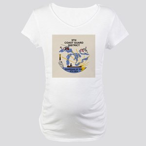USCGPatchCGD9Button2 Maternity T-Shirt