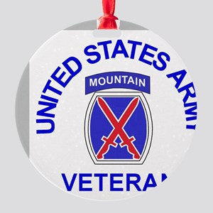 Army-10th-Mountain-Div-Veteran-Butt Round Ornament