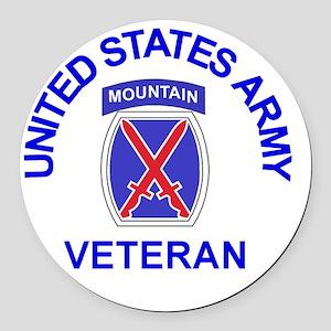 Army-10th-Mountain-Div-Veteran-Bu Round Car Magnet