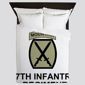 Army-87th-Infantry-Reg-Shirt-Olive Queen Duvet