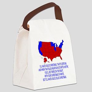 Bush-Blue-Christmas Canvas Lunch Bag