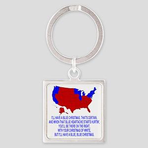 Bush-Blue-Christmas Square Keychain