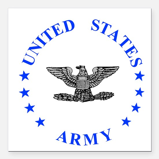 "Army-Colonel-Blue.gif Square Car Magnet 3"" x 3"""