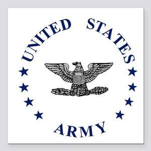 """Army-Colonel-Blue-2 Square Car Magnet 3"""" x 3"""""""