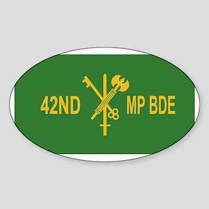 Army-42nd-MP-Bde-Black-Cap-3-XX Sticker (Oval)
