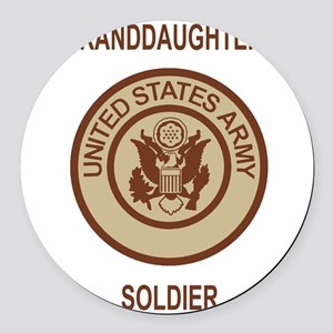 Army-My-Grandaughter-Khaki Round Car Magnet