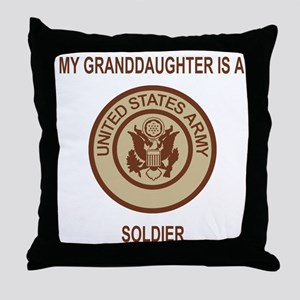 Army-My-Grandaughter-Khaki Throw Pillow