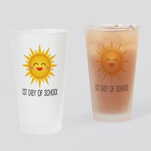 1st Day Of School sun Drinking Glass