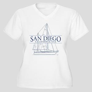 San Diego - Women's Plus Size V-Neck T-Shirt