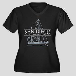 San Diego - Women's Plus Size V-Neck Dark T-Shirt