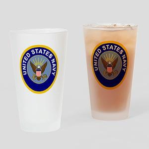 Navy-Logo-8-Blue Drinking Glass