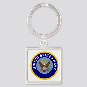 Navy-Logo-8-Blue Square Keychain