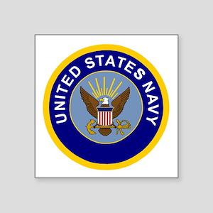 "Navy-Logo-8-Blue Square Sticker 3"" x 3"""