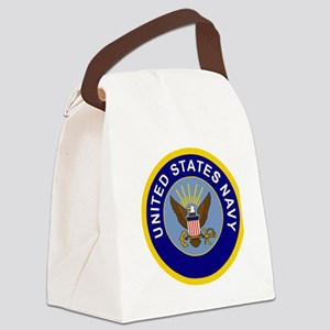 Navy-Logo-8-Blue Canvas Lunch Bag